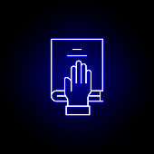bible, hand, death outline blue neon icon. detailed set of death illustrations icons. can be used for web, logo, mobile app, UI, UX