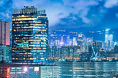 Commercial buildings at night in Hong Kong