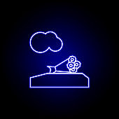 grave, death, flowers outline blue neon icon. detailed set of death illustrations icons. can be used for web, logo, mobile app, UI, UX