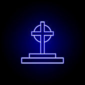 grave, cross, death outline blue neon icon. detailed set of death illustrations icons. can be used for web, logo, mobile app, UI, UX