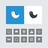 Creative Bird Icon with Bonus Icons.
