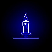 candle, death outline blue neon icon. detailed set of death illustrations icons. can be used for web, logo, mobile app, UI, UX
