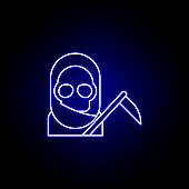 reaper, death outline blue neon icon. detailed set of death illustrations icons. can be used for web, logo, mobile app, UI, UX