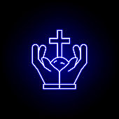 cross, hands, land outline blue neon icon. detailed set of death illustrations icons. can be used for web, logo, mobile app, UI, UX