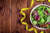 Healthy dieting leaves mix salad