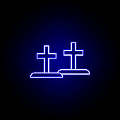 graves, death outline blue neon icon. detailed set of death illustrations icons. can be used for web, logo, mobile app, UI, UX