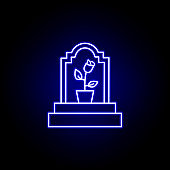 grave, flower outline blue neon icon. detailed set of death illustrations icons. can be used for web, logo, mobile app, UI, UX