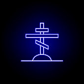 orthodox, grave, death outline blue neon icon. detailed set of death illustrations icons. can be used for web, logo, mobile app, UI, UX