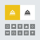 Creative ruler and pencil Icon with Bonus Icons.