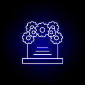 coffin, flowers outline blue neon icon. detailed set of death illustrations icons. can be used for web, logo, mobile app, UI, UX