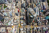 Streets in Mongkok district. Architecture and transportation background. Aerial view of skyscraper buildings in Hong Kong, Top view