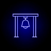 church ball, death outline blue neon icon. detailed set of death illustrations icons. can be used for web, logo, mobile app, UI, UX