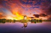 Fantastic view of Windmills at Holland