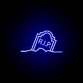 grave, rip outline blue neon icon. detailed set of death illustrations icons. can be used for web, logo, mobile app, UI, UX