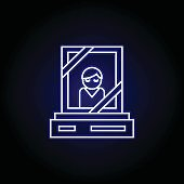 memorial, grave, death outline blue neon icon. detailed set of death illustrations icons. can be used for web, logo, mobile app, UI, UX