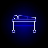 dead body, death outline blue neon icon. detailed set of death illustrations icons. can be used for web, logo, mobile app, UI, UX