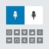 Creative Microphone Icon with Bonus Icons.