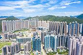 Aerial View of Hong Kong residential buildings