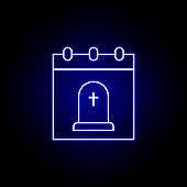 calendar, death outline blue neon icon. detailed set of death illustrations icons. can be used for web, logo, mobile app, UI, UX