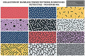 Collection of colorful repeatable trendy patterns. Retro style - fashion 80-90s. Textile mosaic textures - endless backgrounds. You can find seamless design in swatches panel