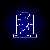 tombstone, death outline blue neon icon. detailed set of death illustrations icons. can be used for web, logo, mobile app, UI, UX
