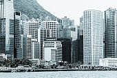 Hong Kong financial district skyline (black and white)