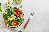 Healthy delicious vegetable avocado salad