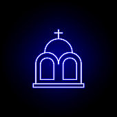 mausoleum, death outline blue neon icon. detailed set of death illustrations icons. can be used for web, logo, mobile app, UI, UX