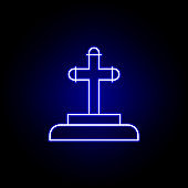 grave, death outline blue neon icon. detailed set of death illustrations icons. can be used for web, logo, mobile app, UI, UX