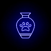 urn, death outline blue neon icon. detailed set of death illustrations icons. can be used for web, logo, mobile app, UI, UX