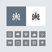 Creative Butterfly Icon with Bonus Icons.