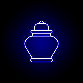 ash, death outline blue neon icon. detailed set of death illustrations icons. can be used for web, logo, mobile app, UI, UX