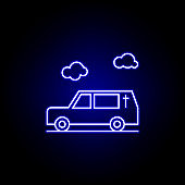 hearse, death, car outline blue neon icon. detailed set of death illustrations icons. can be used for web, logo, mobile app, UI, UX