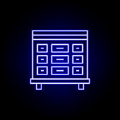 morgue, death outline blue neon icon. detailed set of death illustrations icons. can be used for web, logo, mobile app, UI, UX