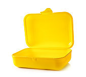 Empty yellow plastic lunch container