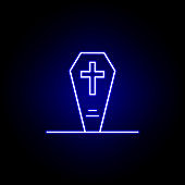 grave, coffin, death outline blue neon icon. detailed set of death illustrations icons. can be used for web, logo, mobile app, UI, UX