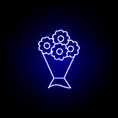 bouquet, death outline blue neon icon. detailed set of death illustrations icons. can be used for web, logo, mobile app, UI, UX