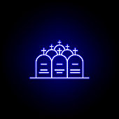 cemetery, death, graves outline blue neon icon. detailed set of death illustrations icons. can be used for web, logo, mobile app, UI, UX