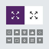 Creative Four Side Arrow or enlarge Icon with Bonus Icons.