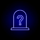 unknown, death, grave outline blue neon icon. detailed set of death illustrations icons. can be used for web, logo, mobile app, UI, UX