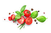 Vegetables and seasoning cooking ingredients