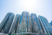 rivate housing of Tseung Kwan O, Hong Kong from drone view