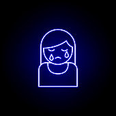 woman, crying, death outline blue neon icon. detailed set of death illustrations icons. can be used for web, logo, mobile app, UI, UX