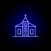 church, death outline blue neon icon. detailed set of death illustrations icons. can be used for web, logo, mobile app, UI, UX