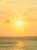 Sunset over ocean of Aruba