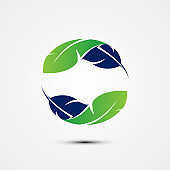 Recycle icon shape feather for element design symbol