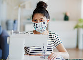 Portrait of Asian manufacturer in pollution mask