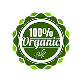 100% Organic food stamp on white backgorund, Organic product badge. Vector illustration in EPS10.