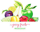 Heap of hand drawn watercolor fruits, banner template