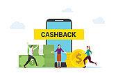 Cashback concept people happy get cashback by shopping online on smartphone apps ecommerce modern flat design.